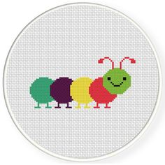 FREE Colorful Caterpillar Cross Stitch Pattern