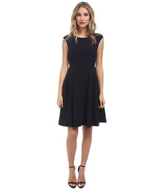 Maggy London Crepe Fit & Flare w/ Neck Piping Dress