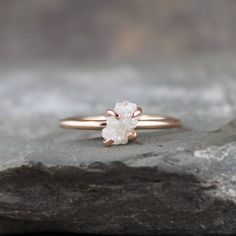 Rose Band Uncut Diamond | Raw Diamond Ring - 14K Pink Rose Gold Engagement Ring - Uncut Rough ...