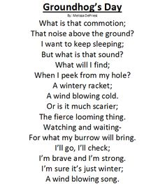 groundhog day poems for grade 1 - Google Search
