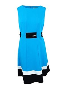 2bbe2a7016a11 Calvin Klein Womens Plus Size Fit and Flare Color Block with Belted Waist  Cerulean Multi 14W