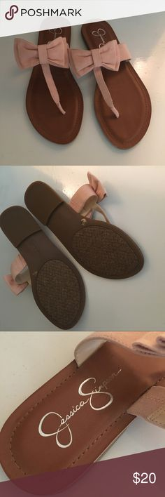 Jessica Simpson Sandals Jessica Simpson sandals, never worn, bought brand new from another Posher, but they are too small, THESE ARE A SIZE 8, but definitely not true to size & would better fit a 7.5! Super cute blush pink sandals with a girly bow! Jessica Simpson Shoes Sandals