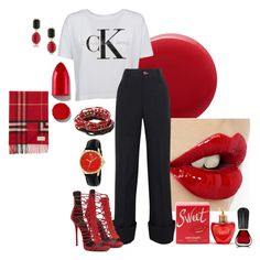 """CK Red/Blk"" by kloeyblue ❤ liked on Polyvore featuring Oribe, Calvin Klein, Jacquemus, Rodin, Lolita Lempicka, Erica Lyons, Gucci, 1st & Gorgeous by Carolee and Burberry"