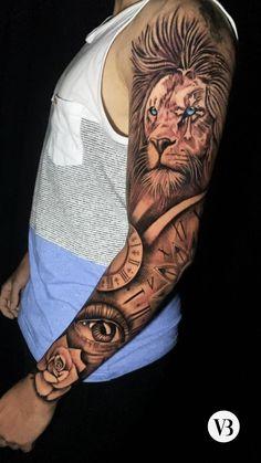 Lion Tattoo Half Sleeve, Lion Arm Tattoo, Tribal Lion Tattoo, Tribal Forearm Tattoos, Realistic Tattoo Sleeve, Egyptian Tattoo Sleeve, Animal Sleeve Tattoo, Girl Thigh Tattoos, Lion Head Tattoos