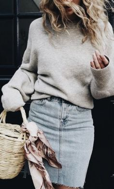 sweater + pencil denim skirt