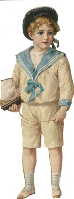 Victorian Die Cut Scrap Sailor Boy w Sailboat c1880s