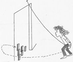 Swing Ball Bowling - hang ball to top of doorway -> Set up bottles or blocks as pins.  Note: You can cut a slit in a tennis ball then knot a rope and shove the knot inside the slit if you're having trouble tying a ball to a string. Also, you can make it tougher for older kids by requiring that they swing the ball around to the back and hit the pins on the return before catching the ball.