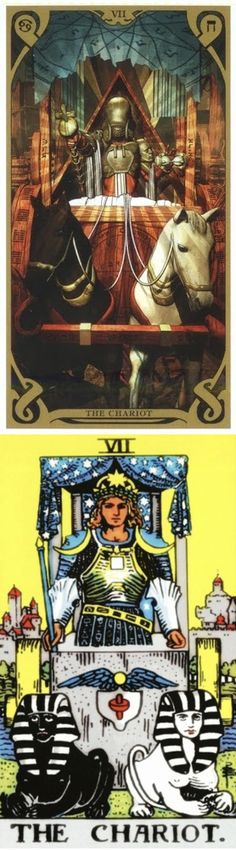THE CHARIOT: self-control and loss of control (reverse). Night Sun Tarot deck and Rider Tarot deck: tarot rider, toro card reading vs tarot free on line. Best 2018 ritual sacrifice and gotham. #pentacle #halloween #hierophant #unicorn
