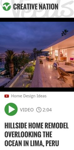 With a privileged location overlooking the ocean and bay of Ancón, a district north of Lima, Peru, this Hillside Home by Architect Adriá Noboa offers unique living perks. The aim of the owners was t.. | http://veeds.com/i/ihtxbIMgVh2NKpeH/creativenation/