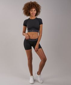 Gymshark Flex Crop Top - Black Marl/Charcoal