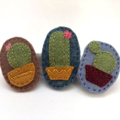 Cactus Felt Brooch by TwoHungryBlackbirds on Etsy More