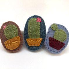 Cactus Felt Brooch by TwoHungryBlackbirds on Etsy