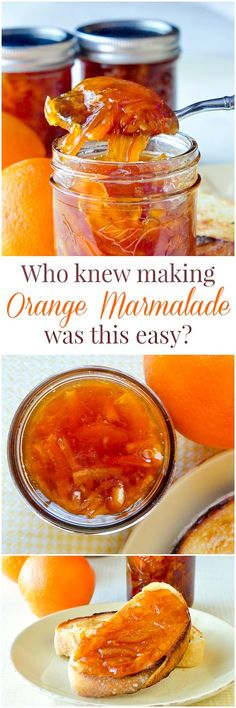 Orange Marmalade - who knew making marmalade was this easy? This version adds a little natural vanilla flavour in what might me the best marmalade you'll ever try. Ideal for Christmas gift giving season. Jelly Recipes, Jam Recipes, Canning Recipes, Dessert Recipes, Canning Tips, Drink Recipes, Cooker Recipes, Making Marmalade, Sauces