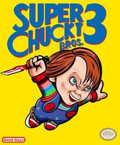 'Super Chucky Bros 3 ' by Doug Saquic Horror Cartoon, Funny Horror, Horror Icons, Scary Movie Characters, Scary Movies, Horror Movies, Freddy Krueger, Chucky Horror Movie, Bride Of Chucky
