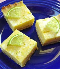 Key Lime Pie Bars - these were fabulous! You'd never know they were low carb. Low Carb Sweets, Low Carb Desserts, Dessert Recipes, Healthier Desserts, Dessert Bars, Recipes Dinner, Dairy Free Key Lime Pie, Key Lime Pie Bars, Key Lime Flavor