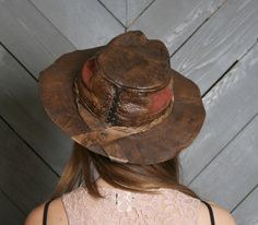 f34577169d155 1970s LEATHER HAT   Bohemian Wide Brim Hat by luckyvintageseattle Braids  Band