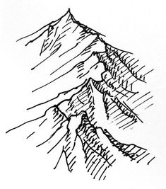 Today, a quick one on isometric pen and ink mountain ranges. Draw in the ridgeline of the mountains. Add bumps and wiggles and allow the path to wander. With the ridgeline in place, take lines off . Ink Pen Drawings, Easy Drawings, Pen Sketch, Sketches, Fantasy Map Making, Mountain Drawing, Drawn Art, Drawing Techniques, Art Tutorials