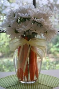 Spring centerpiece with carrots!  Love this; simple; cute...