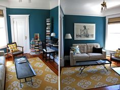 teal & yellow: I think I will like this for the living room
