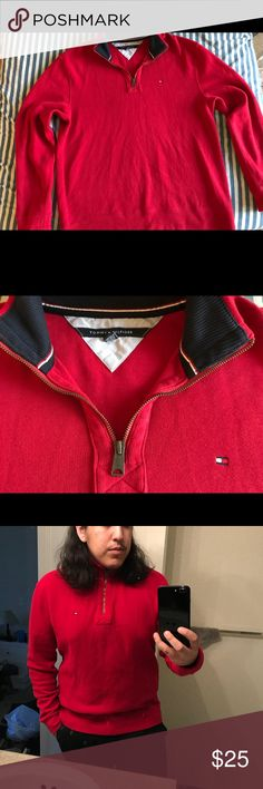 Tommy Hilfiger Neck Zip Up Nice red Tommy Hilfiger neck zip up. Soft to the touch and pretty warm :) great condition and almost feels brand new still :) Tommy Hilfiger Sweaters Zip Up