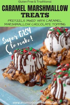 Caramel Marshmallow Treats are a quick and easy homemade candy Salted pretzels are mixed with caramel topped with a marshmallow and drizzled in chocolate via mamagourmand Pretzel Treats, Marshmallow Treats, Pretzels, Candy Recipes, Dessert Recipes, Caramel Recipes, Family Recipes, Christmas Recipes, Cookie Recipes