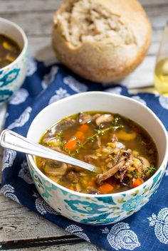 Mushroom and Farro Soup with tender chunks of beef | girlinthelittleredkitchen.com