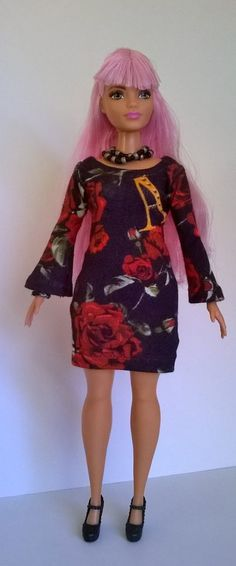 Curvy Barbie dress rose pattern with Bell sleeves