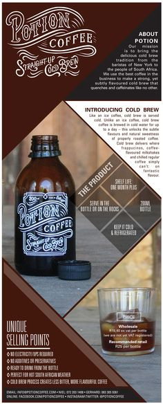 Potion Coffee Cold Brew Product Sheet Layout Design by Maya Liepaz Coffee Music, My Design, Layout Design, Cold Brew, Whiskey Bottle, Brewing, Maya, Typography, Decor Ideas