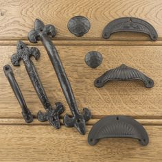 Cast Iron Black Kitchen Cupboard Drawer Pulls & Knobs, Cup Pull, Hot Bed Handles