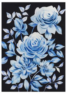 Leading Illustration & Publishing Agency based in London, New York & Marbella. Erin Brown, Watercolor Rose, View Image, Flower Art, Blue And White, Seasons, Wallpaper, Dark, Victoria