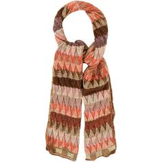 Pre-owned Missoni Patterned Open Knit Scarf ($65) ❤ liked on Polyvore featuring accessories, scarves, orange, missoni shawl, colorful scarves, multi colored scarves, orange shawl and missoni