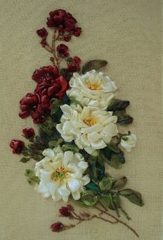 picture Roses  Silk ribbon embroidery by SilkRibbonembroidery, €60.00