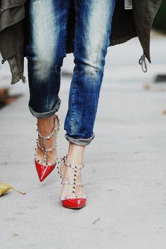 Valentino Rockstuds in patent  + skinny jeans