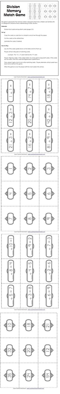 Practice division facts with this fun memory match game!