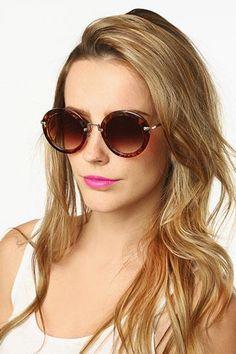 'Elizabeth' Thick Frame Round Sunglasses - White/Silver - 5372-3