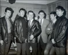 Tower Ballroom, Birkenhead, in 1962 ~ Left-to-Right: Pete Best, John Lennon, Delbert McClinton [who played the distinctive harmonica on Bruce Channel's 1962 hit 'Hey Baby'], Bruce Channel, Paul McCartney, and George Harrison ~ (Photo: Mike McGear)
