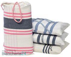 Telo coprilettino fouta summer con cuscino e tasche. www.biancheria24.it