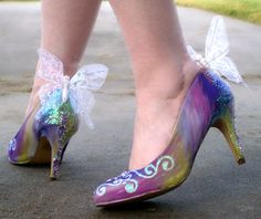 Hand Decorated Fairy Shoes Size 8 Aus. $55.00, via Etsy.