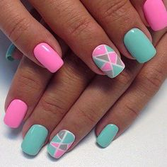 Colourful Triangle Nail Art