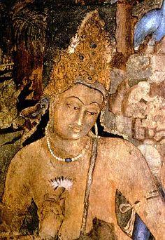 Ajanta, Pinturas de.  Representación de Bodhisattva