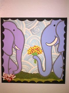 Hey, I found this really awesome Etsy listing at https://www.etsy.com/listing/156199298/elephant-loves-you-12x12-painting-on