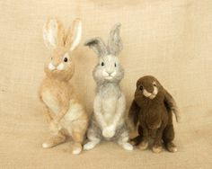 RESERVED FOR KIKI: Peter Rabbit, Lily Bobtail, and Benjamin Bunny Needle felted animal sculptures