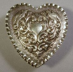 Antique Sterling Repousse Heart Jewelry Box.. Gorgeous Flowers & Birds.. Dominick & Haff