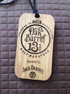 Oak Barrel Half Marathon medal -- gorgeous in oak!