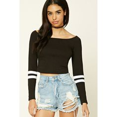 Forever21 Off-the-Shoulder Crop Top ($16) ❤ liked on Polyvore featuring tops, stripe top, striped crop top, collared crop top, crop top and off shoulder long sleeve top