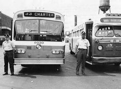 SEPTA Red Arrow Bus   Drivers are seen next to Flxible New Look 6030 (left) and GM Old Look ...