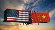 Buy USA and China trade war. US of America and chinese flags crashed containers by on PhotoDune. USA and China trade war. US of America and chinese flags crashed containers on sky at sunset background. Energy Oils, Import From China, Data Show, Sunset Background, Software, Global Economy, Wuhan, Supply Chain, Us Presidents