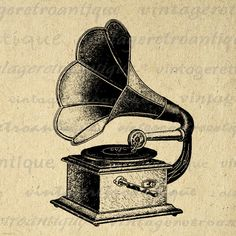 Printable Image Antique Phonograph Digital Music Download Illustration Graphic Vintage Clip Art. High resolution, high quality digital graphic image from vintage artwork for fabric transfers, printing, papercrafts, t-shirts, pillows, tea towels, and more. Antique artwork. This digital graphic is high quality at 8½ x 11 inches large. Transparent background version included with all images.