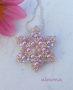 Beaded Pastle Star Pendant by Almona: fülbevalók / earrings - gorgeous beaded pendants and bracelets! site is primarily in Russian (maybe?), though, and just pictures. not sure if patterns are somewhere or if the stuff is for sale? Beaded Beads, Beaded Jewelry Patterns, Beads And Wire, Beaded Earrings, Beading Patterns, Bracelet Patterns, Beaded Bracelet, Beaded Crafts, Jewelry Crafts
