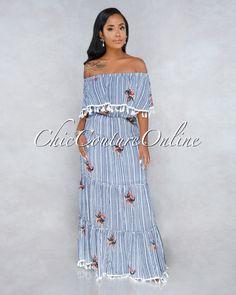 bde2b1a753 Chic Couture Online - Kihana Blue White Stripes Off-The Shoulder Maxi Dress